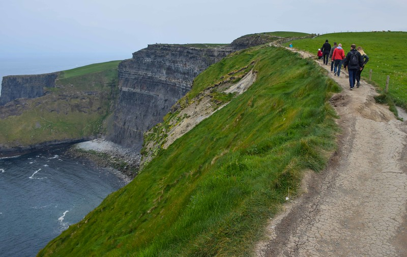 Walking along the cliffs...no railings!