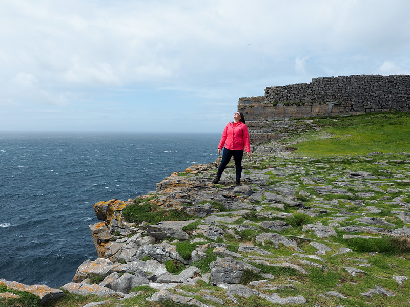 Amanda at Dún Aonghasa on Inis Mor