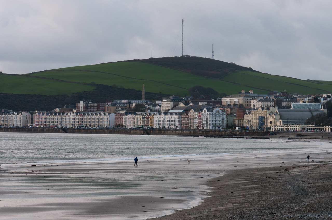 Shot of the shore and city skyline in Isle of Man