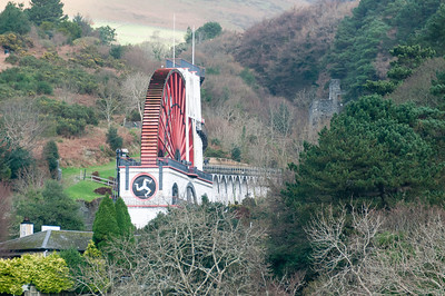 The Laxey Wheel towering above canopy in Isle of Man