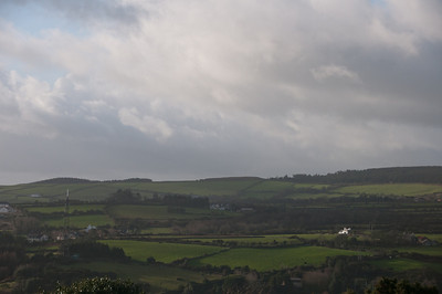 Wide shot of green fields in Isle of Man