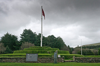 National flag on a pole in the middle of a public park in Isle of Man