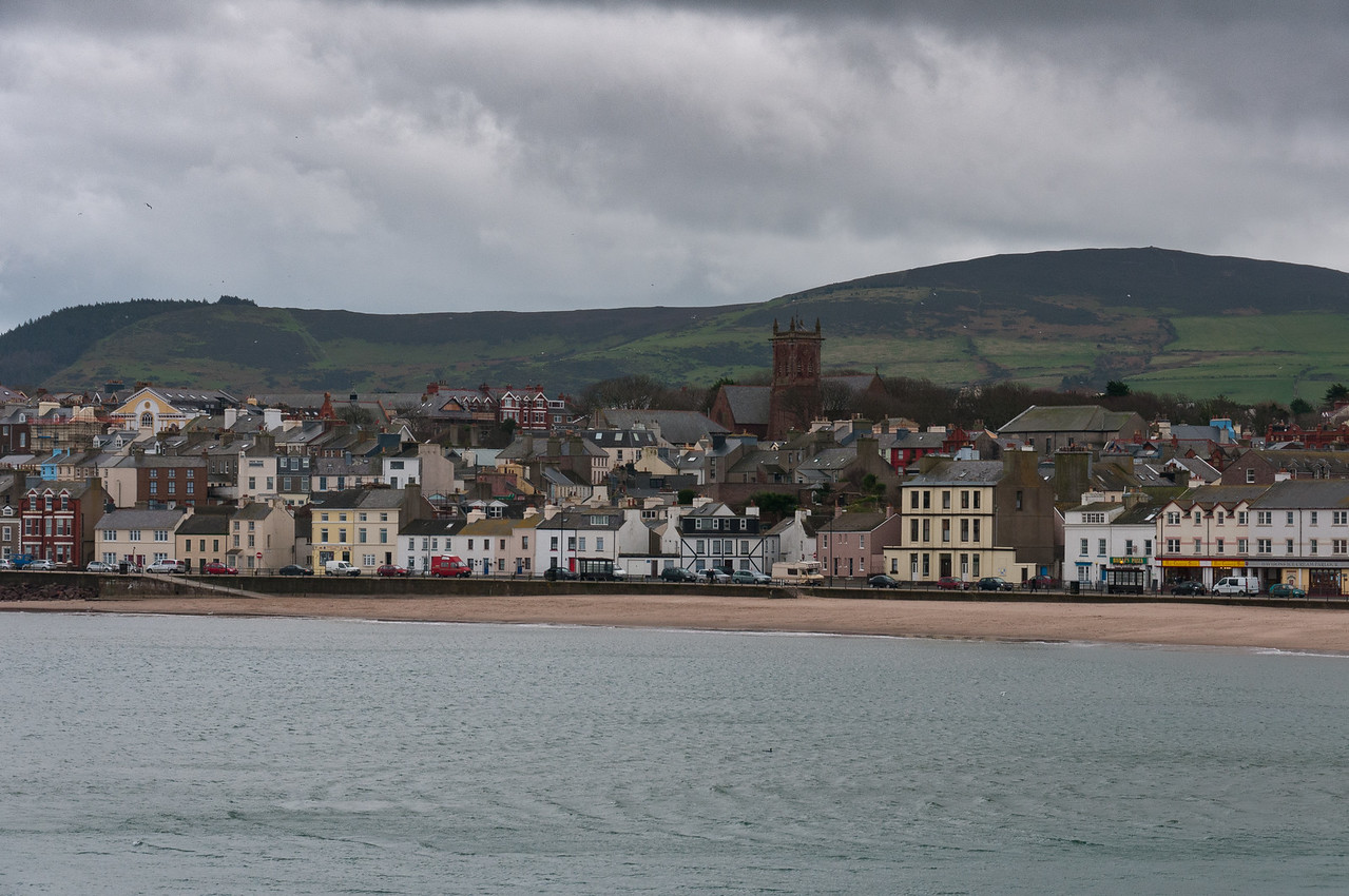 Wide shot of skyline near the beach - Isle of Man