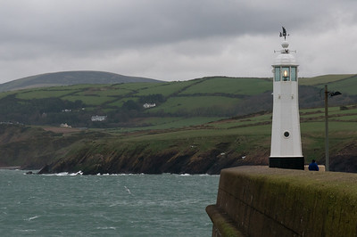 White lighthouse on cliff at Isle of Man