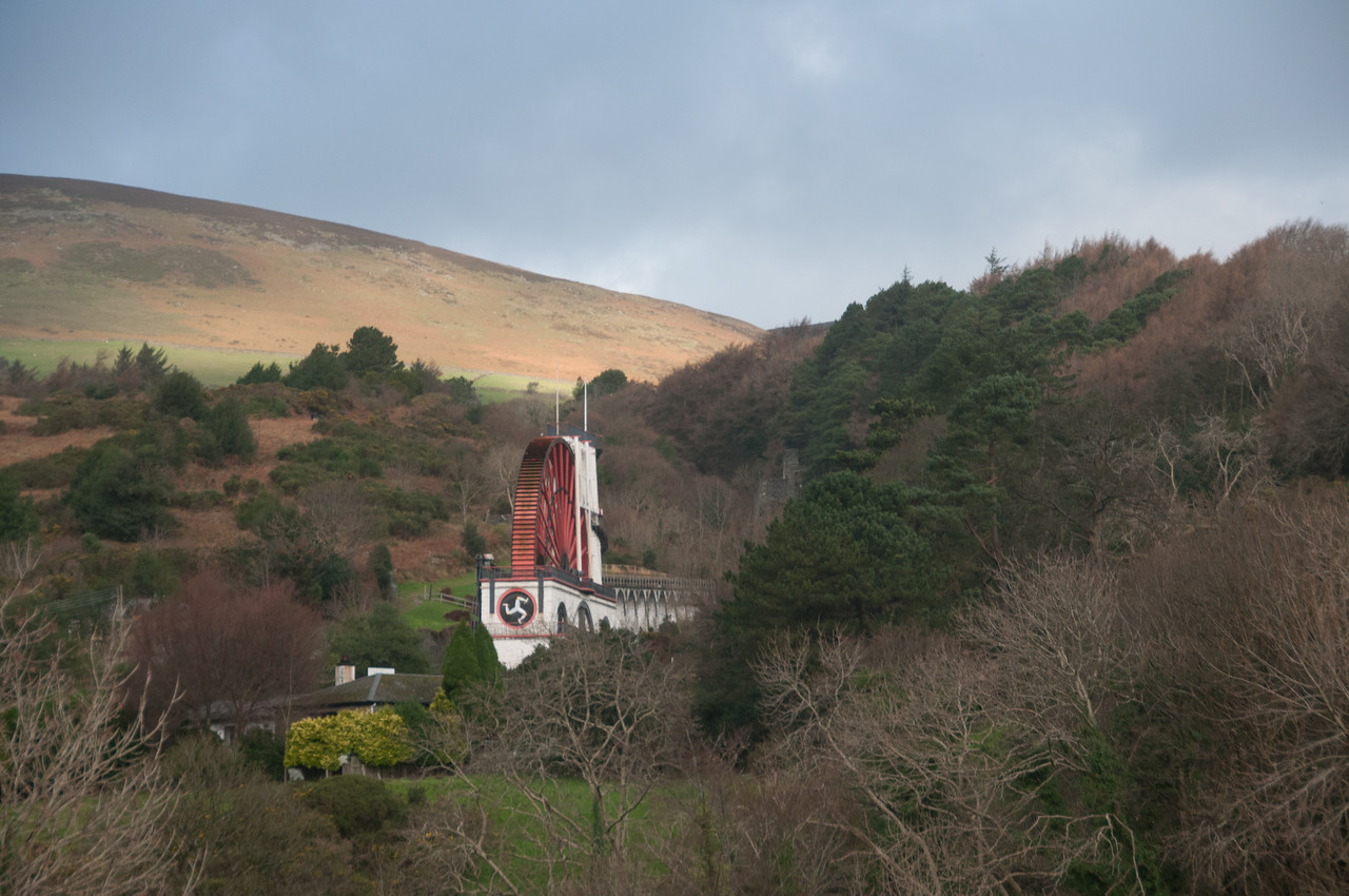 View of the Laxey Wheel from afar in Isle of Man