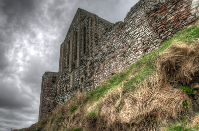 Looking up onto one section of the Peel Castle in Isle of Man