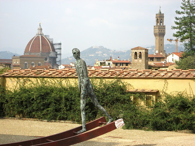 Boboli gardens with statue