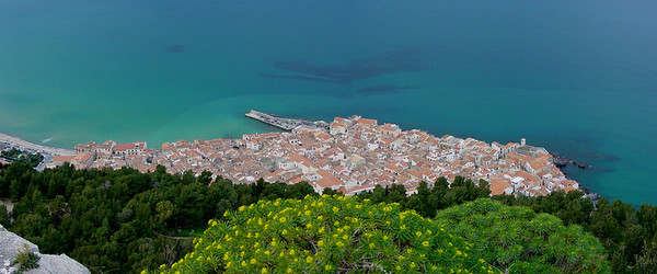 Overlooking the beautiful town of Cefalu from atop La Rocca