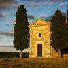 Chapel of the Madonna di Vitaleta late afternoon sun, artistic