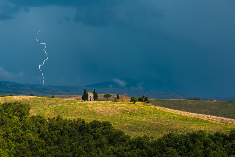 Chapel of the Madonna of Vitality in the lighting storm
