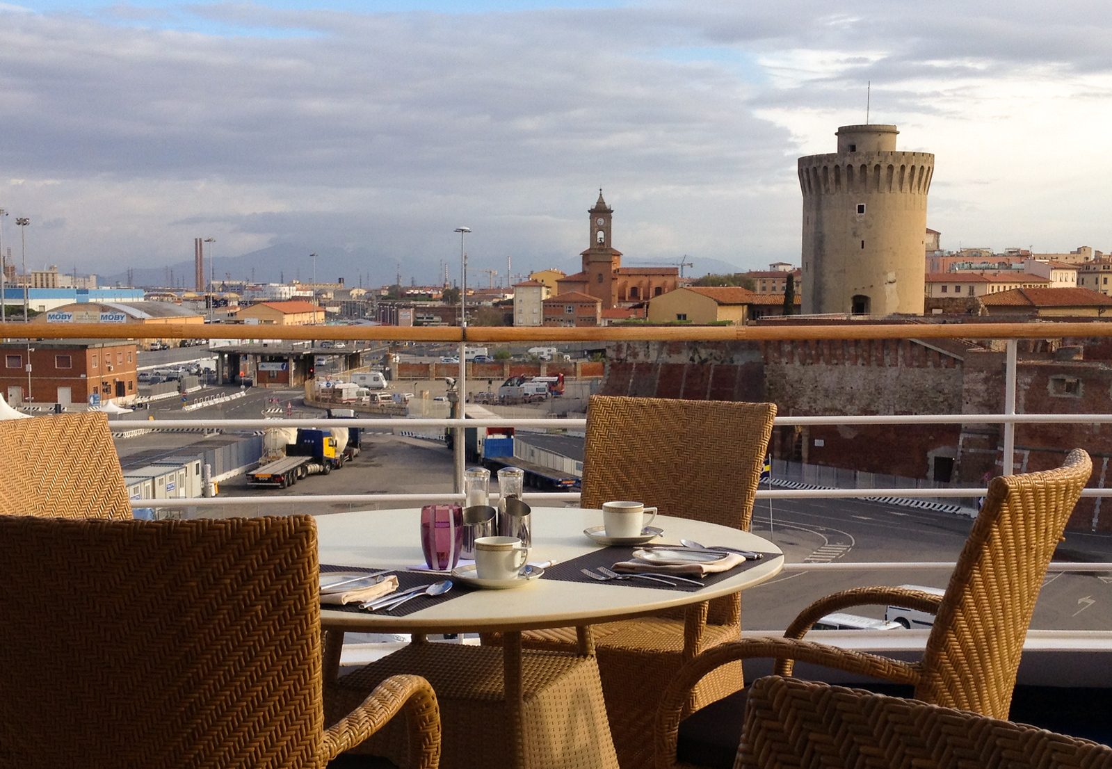 Enjoying breakfast overlooking Livorno on a spring cruise with Silver Wind.