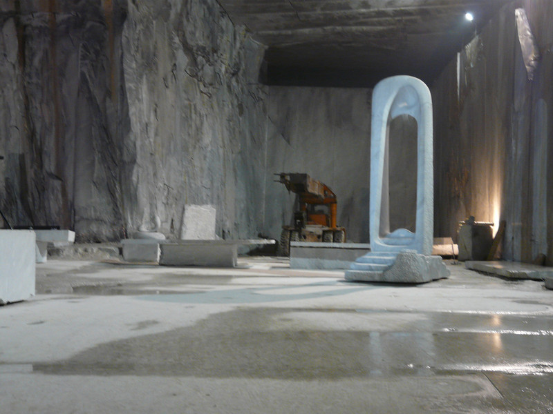 A marble sculpture piece in the mine