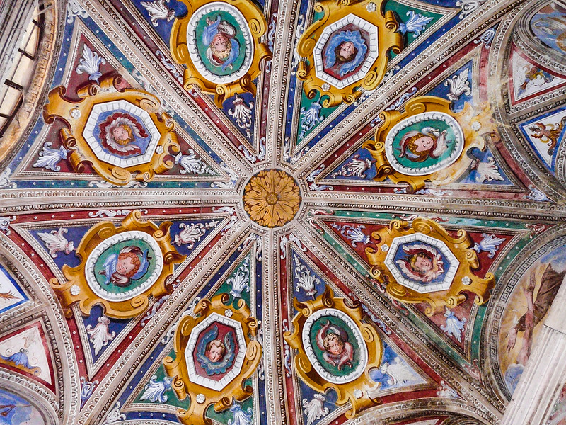 Colorful domed ceiling in Italy.