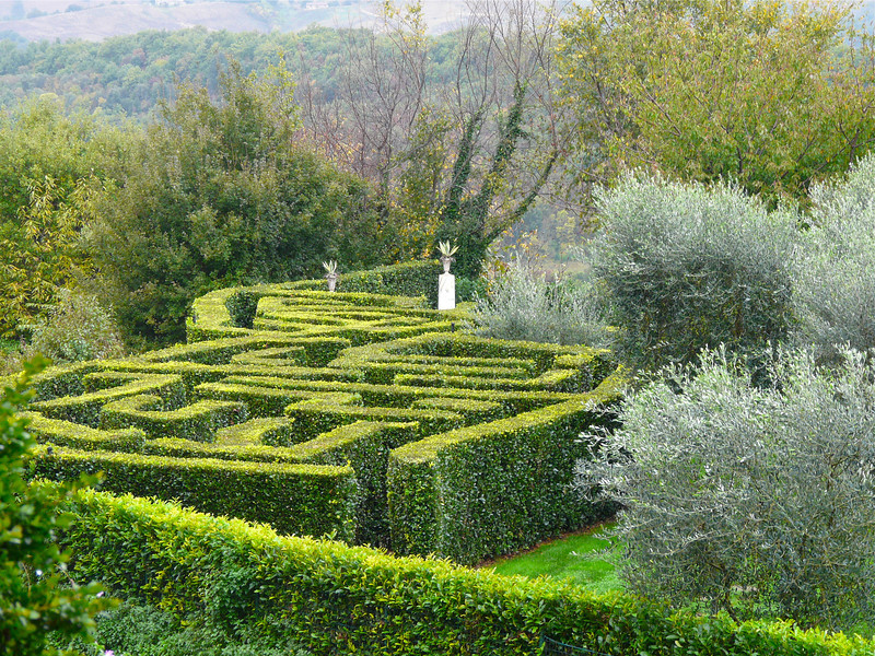 The maze at Sovana Hotel and Resort in off-the-beaten-path Tuscany. Sovana is one of our favorite romantic getaways.