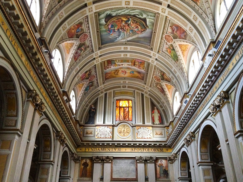 On a Subiaco walking tour, admire the lovely ceiling at Basilica Sant'Andrea. It's part of the boomer travel fun in Italy. #boomertravel #Italy #Subiaco