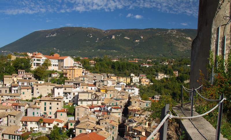 Start your Subiaco walking tour with the view from Rocca di Borgia. Be sure to add Subaico to your boomer road trip in Italy plans. #Italy #Subiaco #roadtrip