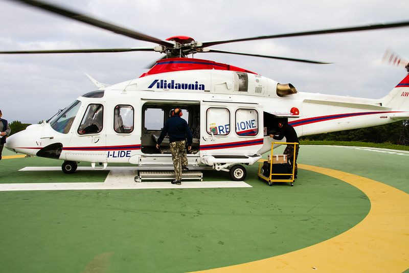 Person boarding a commuter helicopter