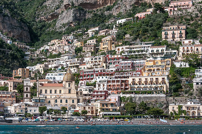 Panorama of the buildings along the Amalfi Coast in Italy