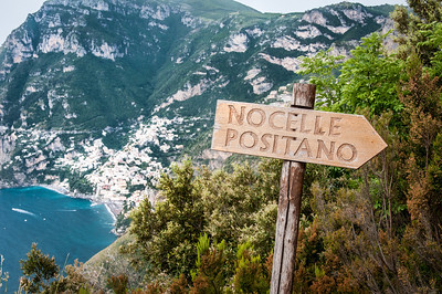 Sign along hiking paths at the Amalfi Coast in Italy