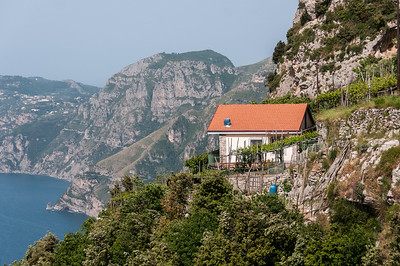 House on a cliff at the Amalfi Coast in Italy
