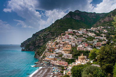 Buildings on a cliff at the Amalfi Coast in Italy