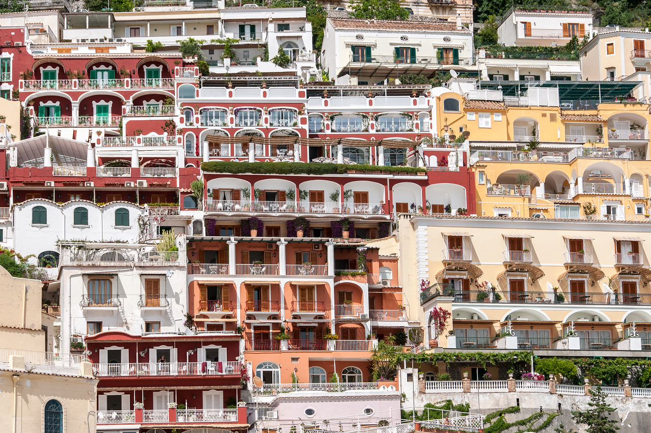 Detail of buildings in the Amalfi Coast of Italy