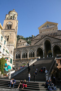 Front of the cathedral in the town of Amalfi along the beautiful Amalfi Coast
