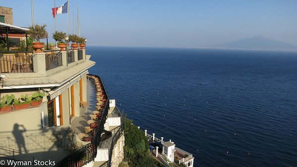 View from Hotel Britol in Sorrento, Italy overlooking part of the Amalfi Coast