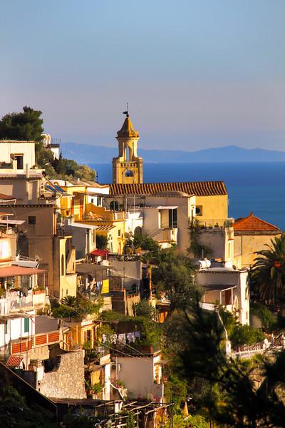 Italy, Amalfi Coast, Small Town Along Drive