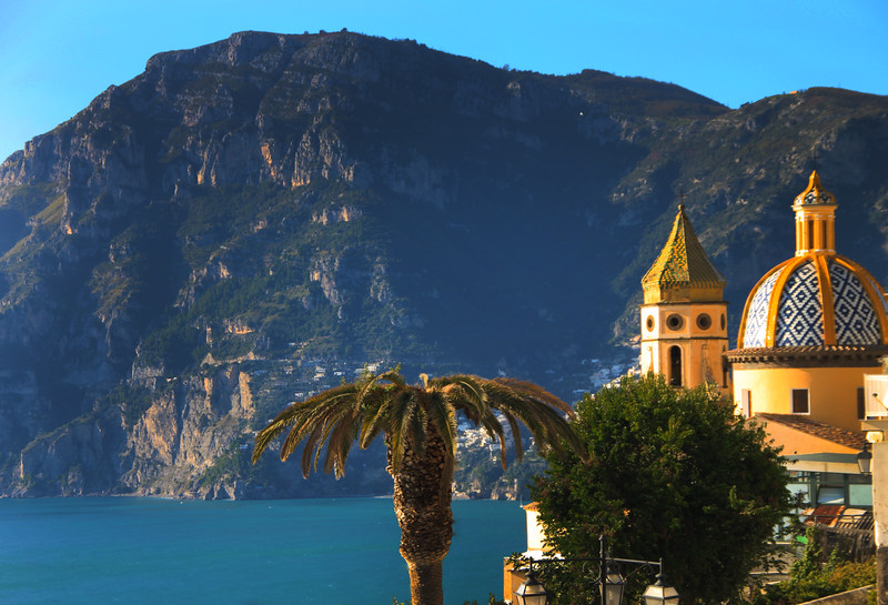 Italy, Amalfi Coast, View on Church from Drive