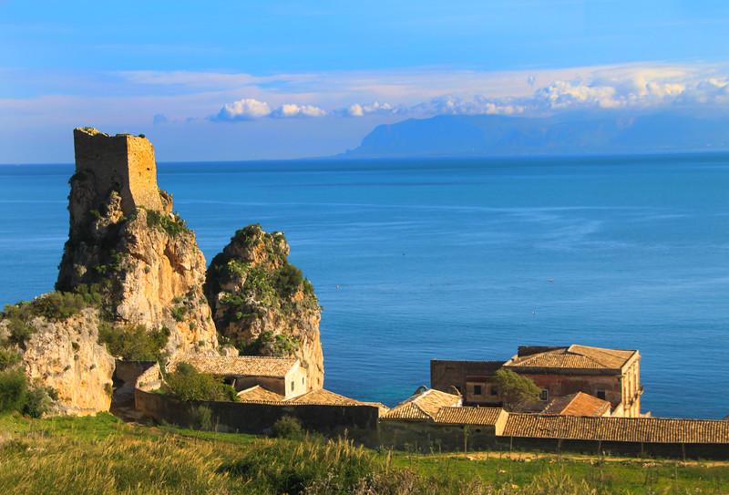 Sicily, View on Il Scopello Castle Ruins