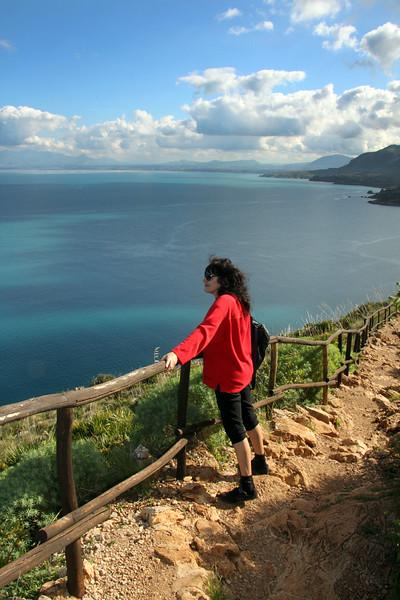 Sicily, Hiker on Lo Zingaro Nature Park Trail