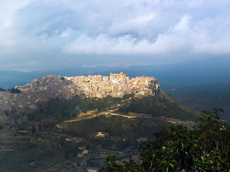 Sicily, View on Calascibetta from Enna