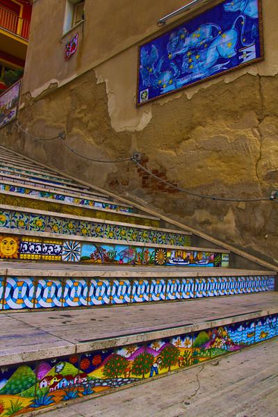 Sicily, Siacca, Tile Stairway