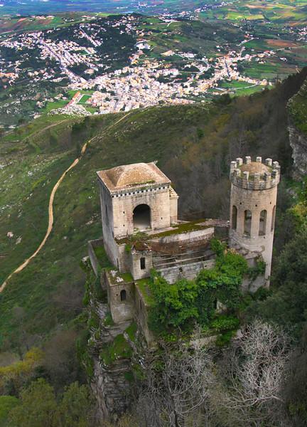 Sicily, Erice, View on  Torretta Pepoli