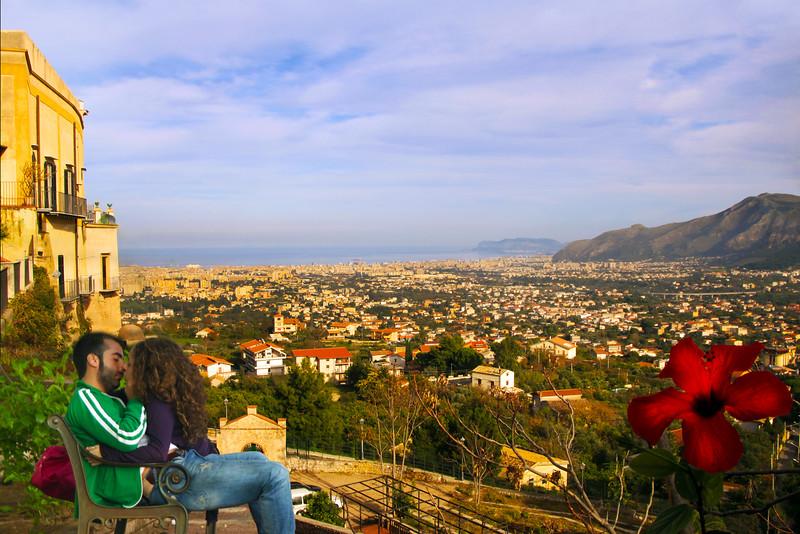 Sicily, Monreale, Lovers in Garden Overlooking Palermo