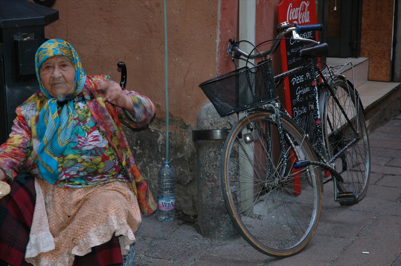 Elderly Woman and a Bike - Bologna, Italy