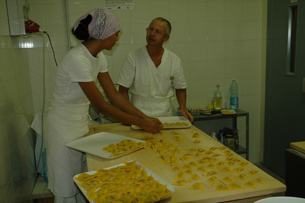 Trays of Hand Made Tortelloni - Bologna, Italy