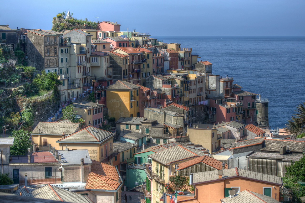 Rooftops of houses and buildings in Cinque Terre, Italy