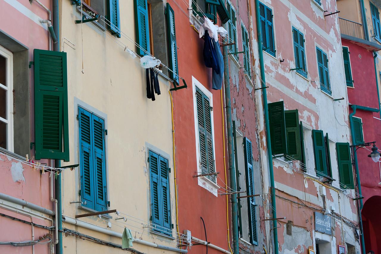Closer shot of apartment-type buildings in Cinque Terre, Italy