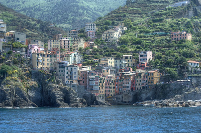 View of the houses and buildings at the valley in Cinque Terre, Italy