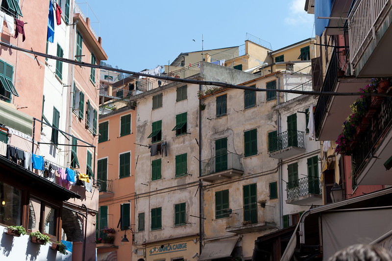Old apartment-type buildings in Cinque Terre, Italy