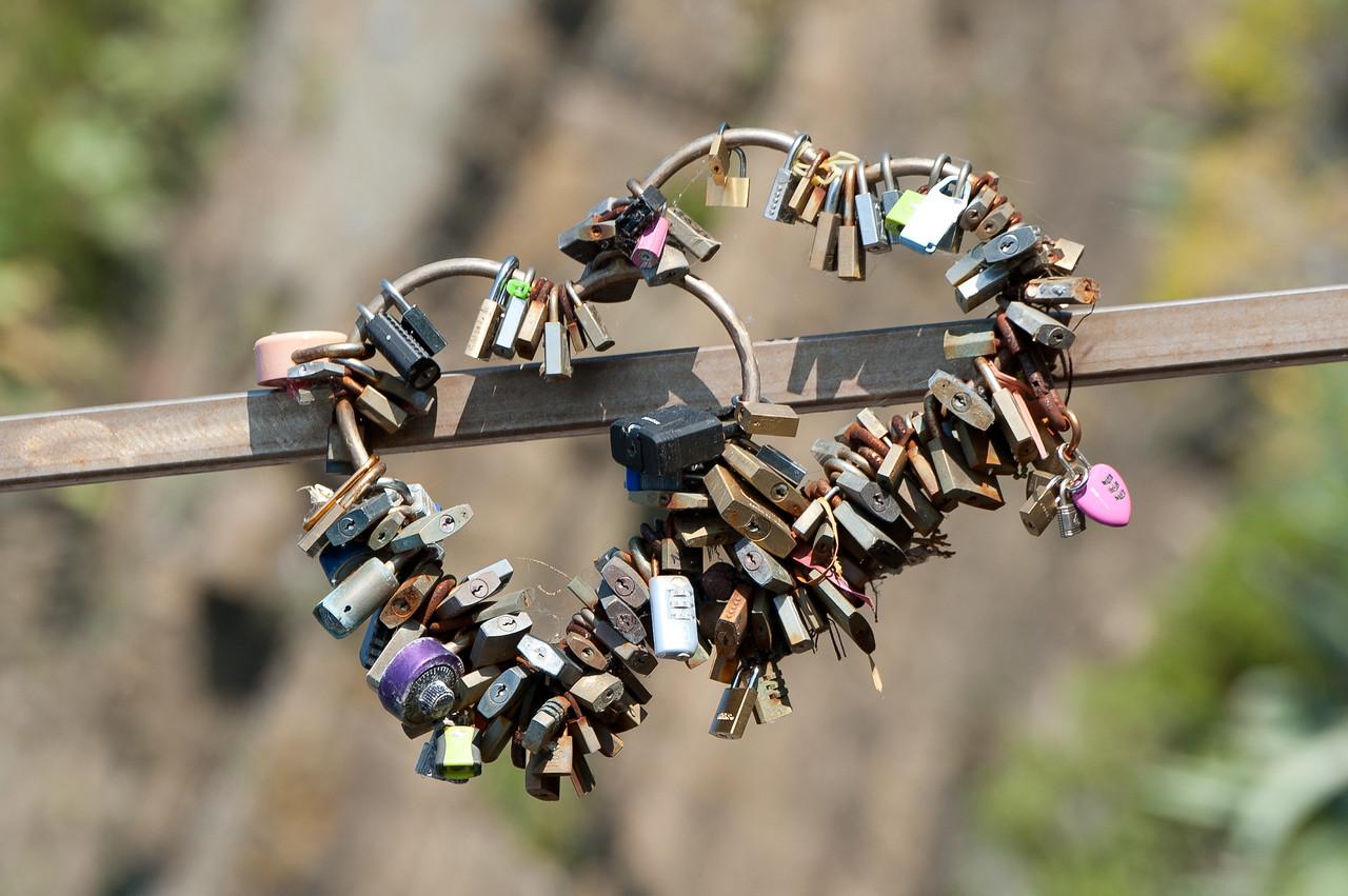 Heart shaped locks in Cinque Terre, Italy