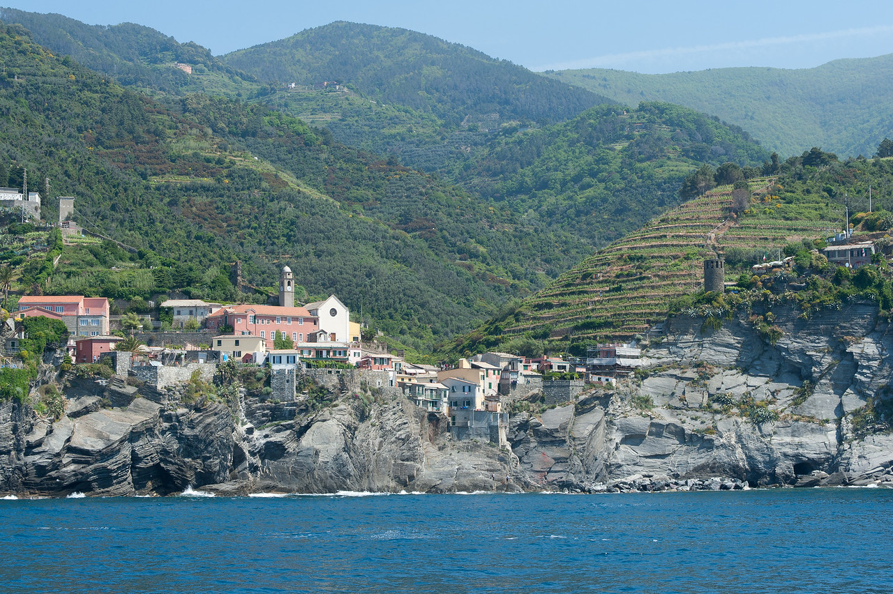 Buildings and houses on a valley at Cinque Terre, Italy