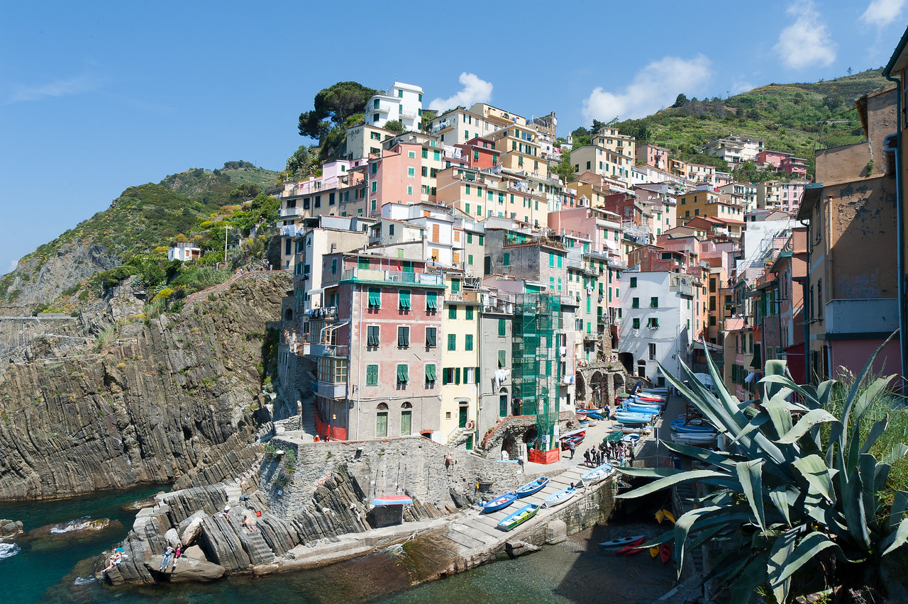 Wide shot of buildings on a hill at Cinque Terre, Italy