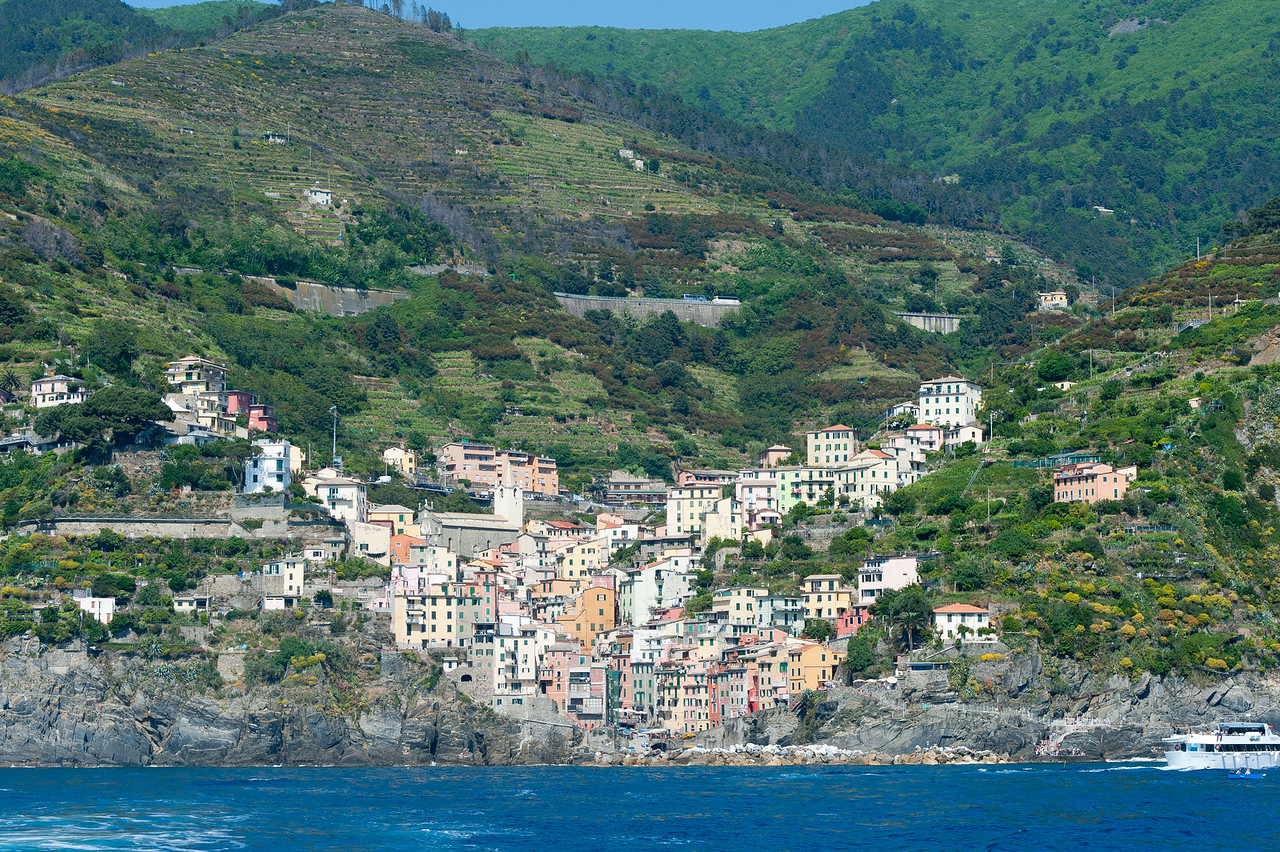Houses and buildings at the valley - Cinque Terre, Italy