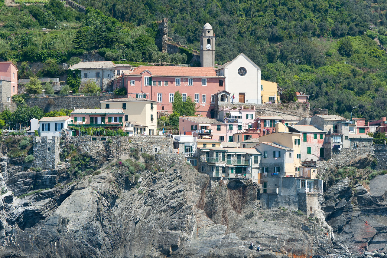 Houses and buildings on a cliff at Cinque Terre, Italy