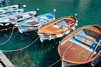 Boats in anchor at the Vernazza Harbor in Cinque Terre, Italy
