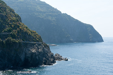 Panoramic drive along the rocky cliff in Cinque Terre, Italy