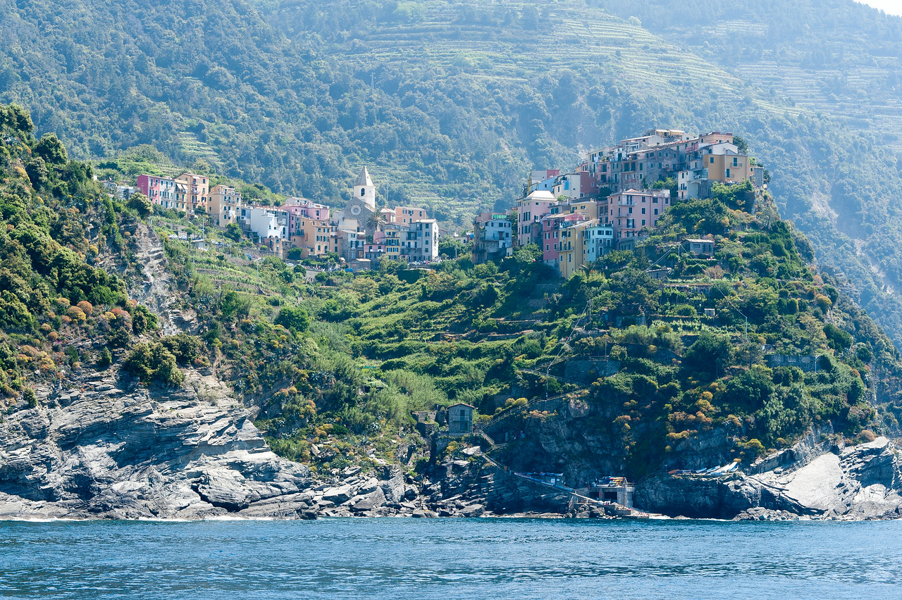 View of the valley, cliffs and houses in Cinque Terre, Italy